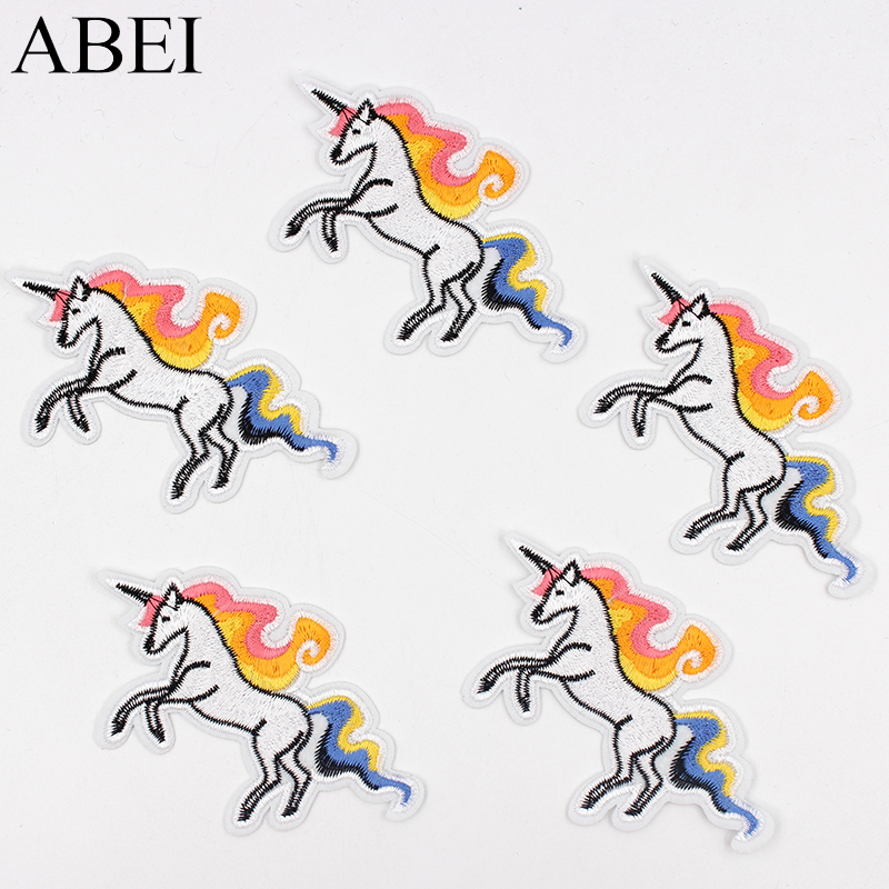 10pcs/lot Embroidered Unicorn Patches Iron On Cartoon Horse Stickers Diy Clothes Animals Appliques Jeans Backpack Badge Patch