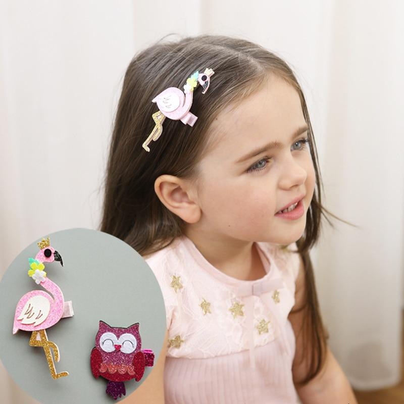 Cute Shiny Children hairpins Cartoon Flamingo Owl Design Hair Edge Clips Baby Girls Gifts Baby Kids Ornaments Hair Accessories