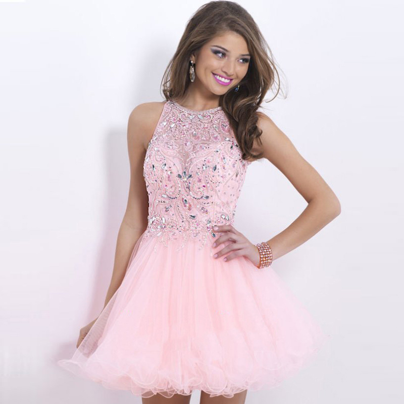 Aliexpress.com : Buy Light Pink Homecoming Dresses Halter Vestido ...