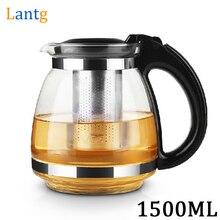 Hochwertigen 1.5L Edelstahl Glas Teekanne Wasserkocher Mit Polyesterfilternetz Tee Wasserkocher Drink Wärme resistan