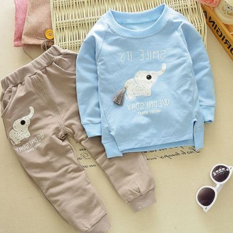 Kids Clothing Boys Clothes Sets 2017 New Summer Autumn Cute Animal Pattern Long Sleeve Tops+ Pant Children Boys Suits HS025