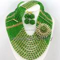 Envío Gratis Boda Nigeriano Marvelous Beads Africanos Joyería de Moda Verde/Oro Collar de la Boda Africana Set GS053