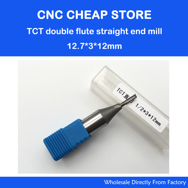 2pc 1/2''*3*12mm Free shipping CNC carbide end mill tool,woodworking insert router bit ,Tungsten TCT straight end milling cutter high grade carbide alloy 1 2 shank 2 1 4 dia bottom cleaning router bit woodworking milling cutter for mdf wood 55mm mayitr