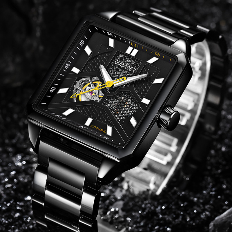 OUBAOER Men's Mechanical Watches Mens Skeleton Automatic Watch Men Business male clock orologio uomo Relojes Hombre mens branded luxury fashion watch men automatic ultra thin gold full steel mesh watches men dress mechanical watch orologio uomo