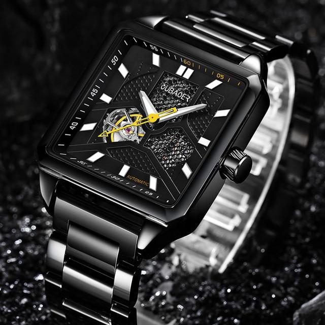 OUBAOER mannen Mechanische Horloges Mens Skelet Automatische Horloge Mannen Business mannelijke klok orologio uomo Relojes Hombre