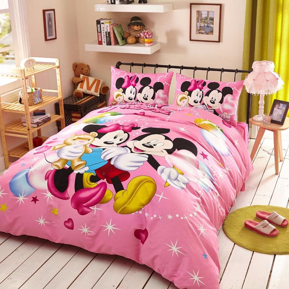 ⊹Niñas de color rosa carácter Minnie Mickey camas twin completa