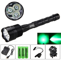 LED Tactical Gun Flashlight 5000LM r5 Green/Red Torch optional Rail 20mm Airsoft Rifle Scope Mount+18650 battery+charger+switch