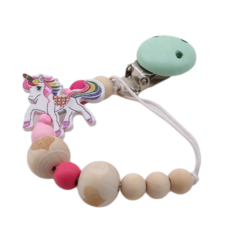 Baby Pacifier Clip Chain Wooden Holder Soother Pacifier Clips Leash Strap Nipple Holder For Infant Feeding Fairy Unicorn Angel
