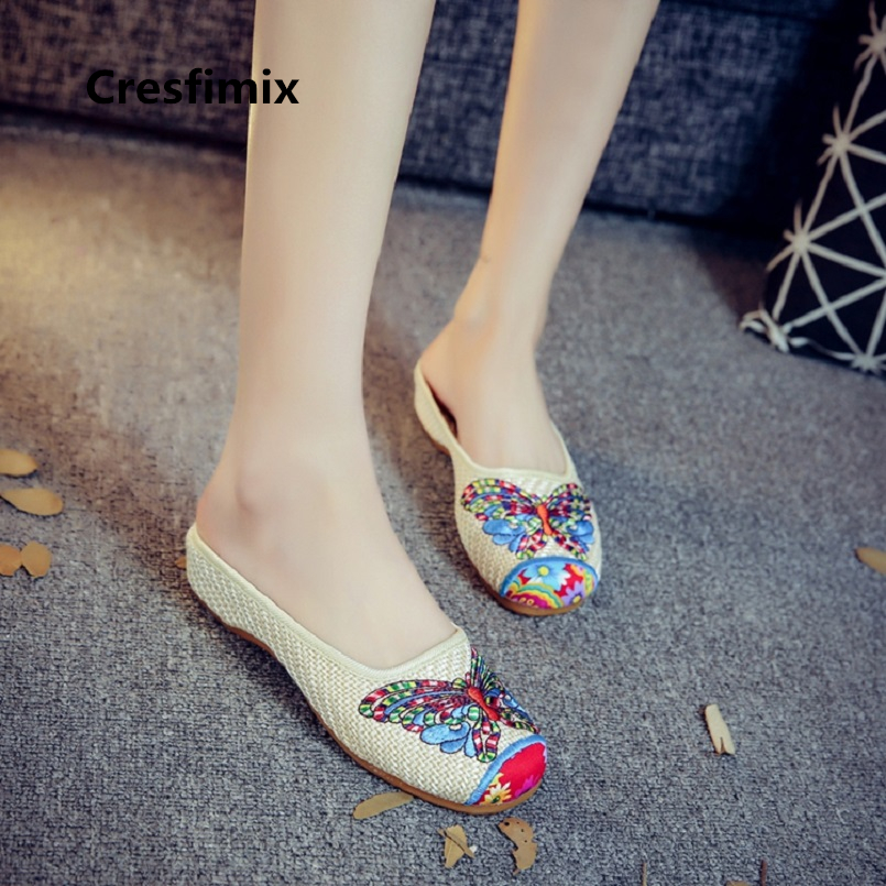 Cresfimix zapatos de mujer woman fashion beige butterfly embroidery flat shoes lady retro casual spring & summer shoes c2050 cresfimix zapatos de mujer women casual plus size retro flat shoes lady leisure spring