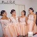 Long Sleeves Pink Bridesmaid Dress Robe Demoiselle D'honneur Vestido De Festa De Casamento Short Mini Party Dresses With Flowers