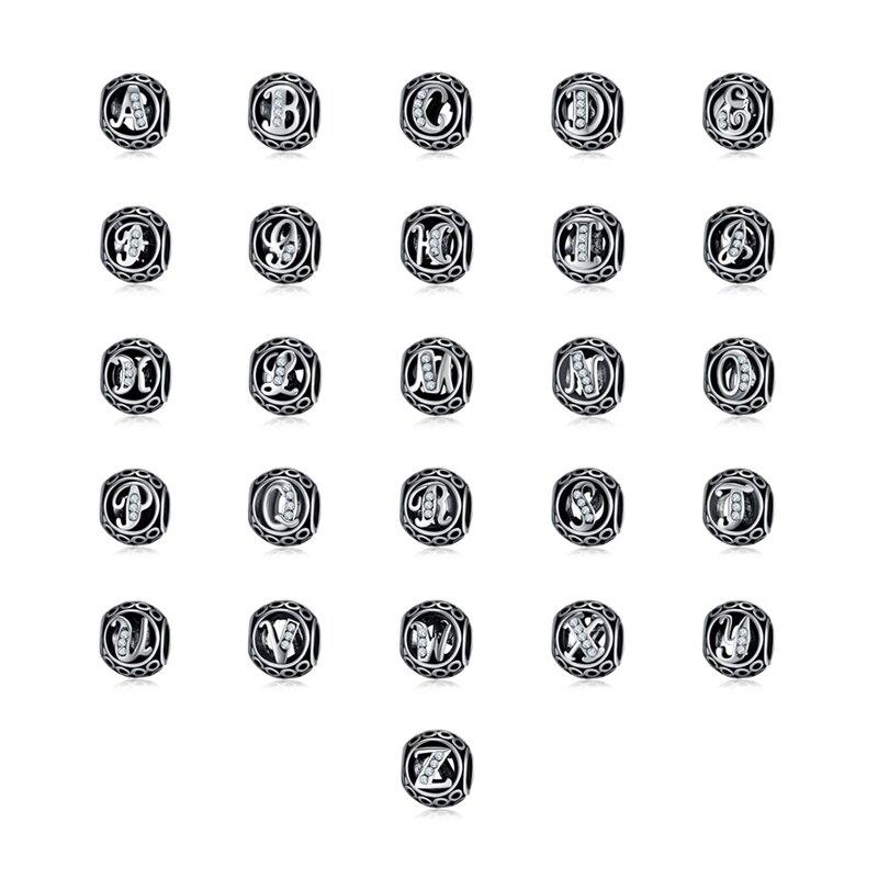 New Vintage Alphabet A-Z 26 Letter Silver Bead Plated Clear CZ Crystal DIY Beads Charm Fit Original Pandora Bracelet Jewelry