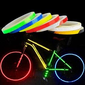 1PC 8 Meter Car Styling Reflective Stripe Tape Motorcycle Bike Body Rim Wheel Stripe Tape Stickers Decorative Blue/Red/Yellow(China)