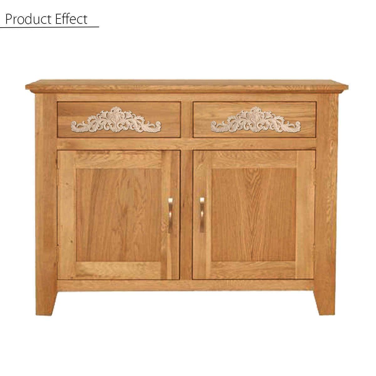 Wood Carved Long Applique Frame Corner Onlay Unpainted Furniture Home Door  Decor