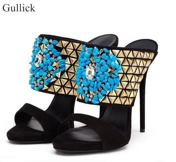 Talons Bleu Stud Chaussures Cage High Picture Robe Cut Heel Or Sexy Rivet Sandal as Élégant As Mince Picture out Femmes Pour Gladitor Sandales vdqtnEUw