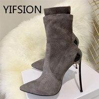 YIFSION/Новые пикантные женские ботинки с острым носком без шнуровки, цвет черный, серый, замшевые женские осенние ботинки на тонком высоком ка