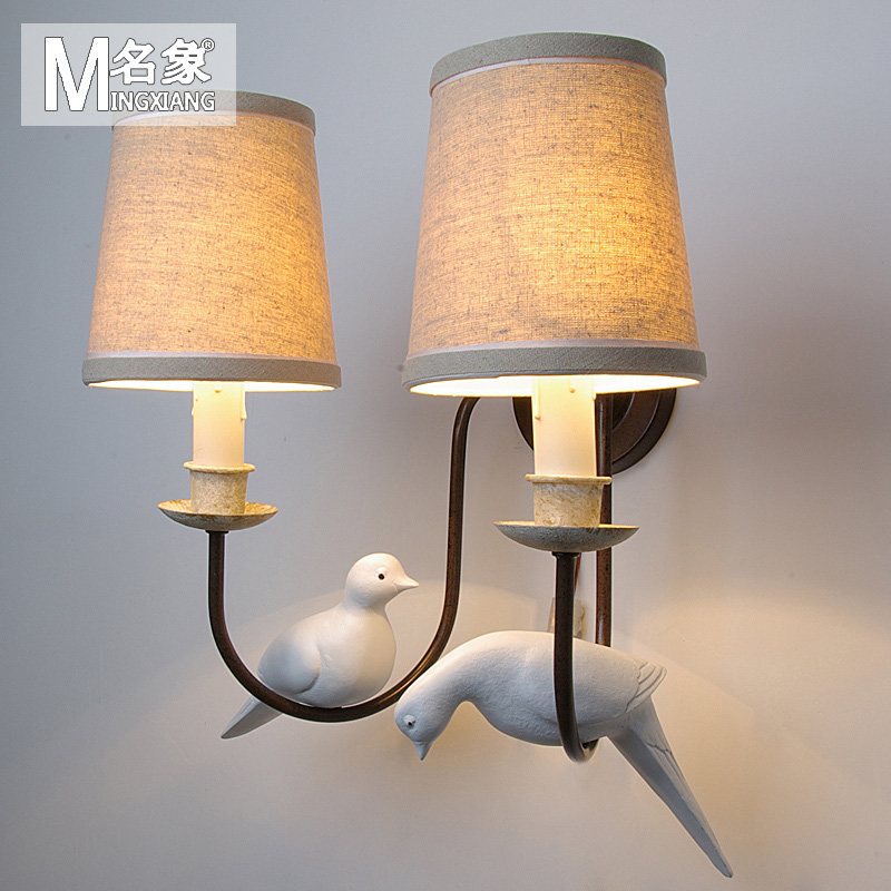nordic European Retro simple personality Bird wall lamp living room bedroom Bedside Lamp Corridor american village wall lamp nordic bronze glass bird living room bedroom bedside lamp