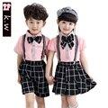 KW Brand School Clothing Unisex Girls Boys Clothing Sets 2107 Summer Shirt+Rompers Girls Clothing Sets Kids Clothes for Boys