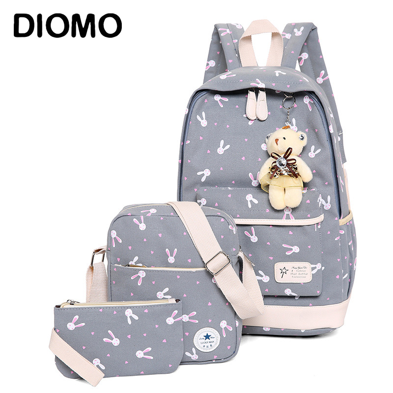 DIOMO Rucksack School Bags Set Three-piece Suit Book Bags For Girl Teenagers Laptop Backpack Women Travel Bagpack Female Casual