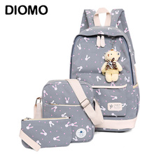 DIOMO rucksack school bags set Three piece suit book bags for girl teenagers laptop backpack women travel bagpack female casual