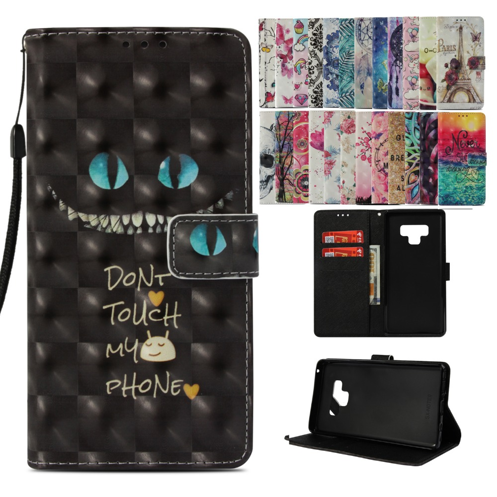 LUCKBUY Flip PU Leather Cover Case For Samsung Galaxy S8 S9 Plus S8Plus S9Plus 3D Printed Wallet flip for Note 9