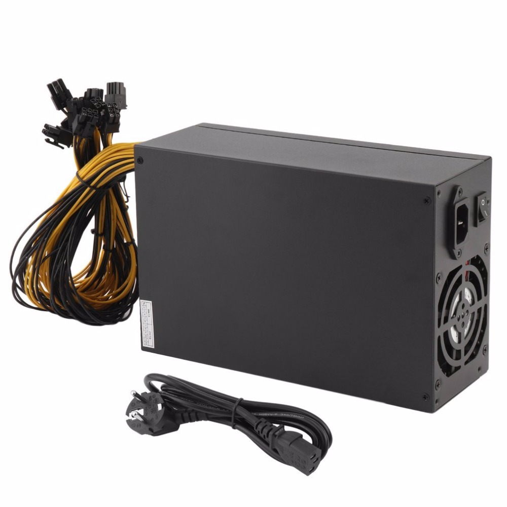 High Efficiency 1800W Server PSU Power Supply 6PIN Mining Machine Power Supply For Antminer S7 S9 A6 A7 L3 R4 EU Plug dash miners riser 1800w psu ant s7 s9 a6 a7 btc eth miner machine server mining board power supply