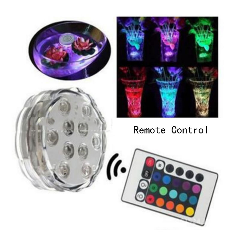 1x 10 Led Remote Controlled RGB Submersible Light Battery Operated Underwater Night Lamp Vase Bowl Outdoor Garden Party Decor