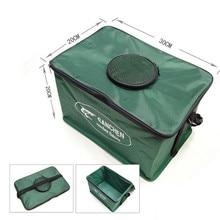 Portable Folding Fishing Bucket Steel Frame Canvas Live Fish Tank Breathable Fishing Tackle Box S M L Random Color