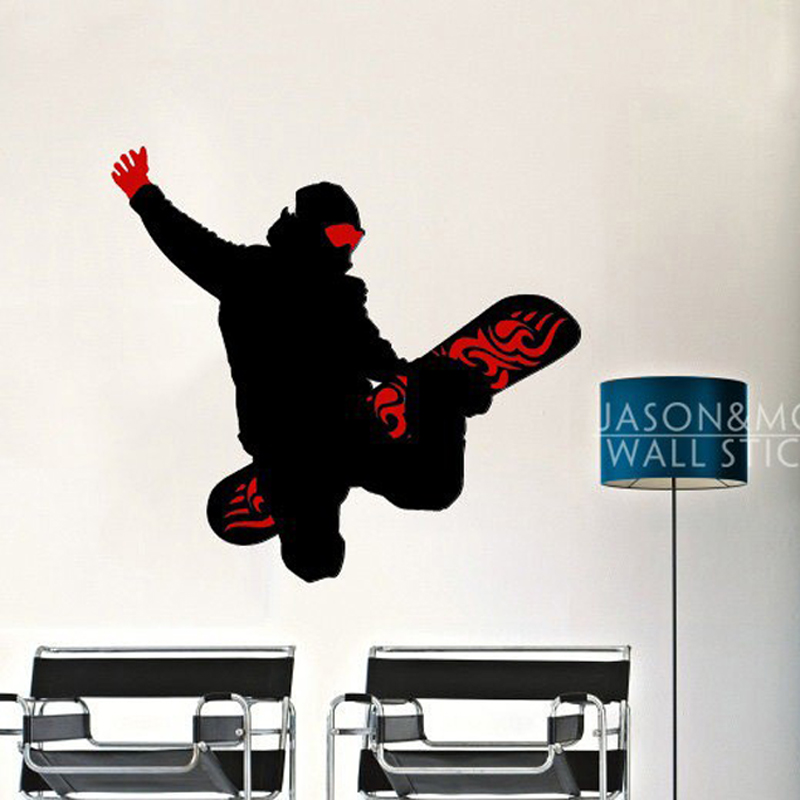 Winter Men Snowboard Board Skate Sports Wallpaper Wall Sticker Decal Mural Vinyl Art Cool Boys Room 60x65cm Home Decoration Xmas
