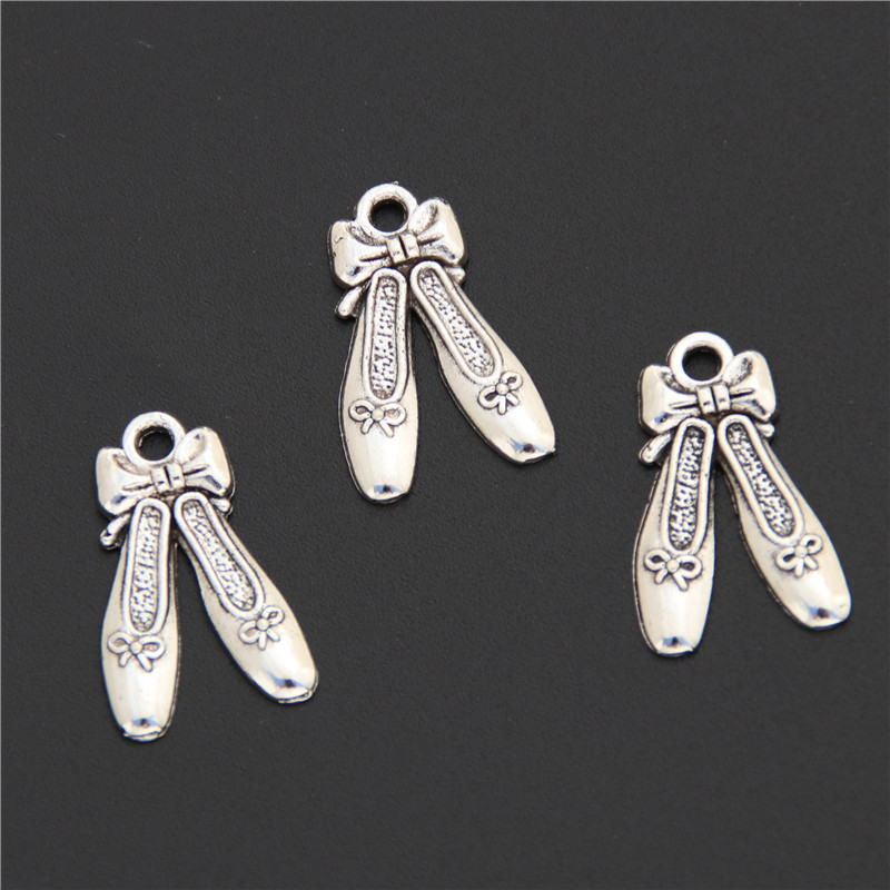 40pcs Antique Silver Ballet Dancing Shoes Alloy Charm DIY Accessories Of Necklace Bracelet Headdress Making Fitting <font><b>A2505</b></font> image