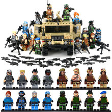 Military War Scene Vehicle Hummer H1 3D Model Field Force Heavy Type Model Building Block Brick Small Soldier Toy Figure For Kid