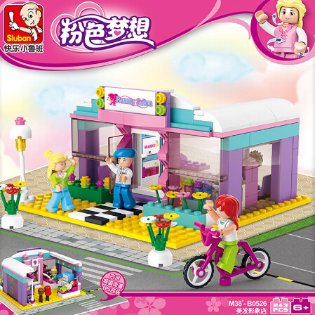 0526 Sluban 226PCS Pink Dream Beauty Salon Hair Salon Kids Toys Gifts Hairdresser Educational DIY Bricks Legogv Compatible