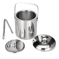 Stainless steel Ice Cube Container Double Walled 1.3 liter ice bucket as ice container with tongs and lid Ice container