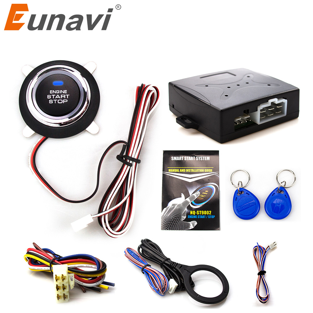 Eunavi Smart Rfid Car Alarm System Push Engine Start Stop Button Transponder Immobilizer Keyless Go Fits For 12v Cars Carsmate easyguard pke car alarm system remote engine start stop shock sensor push button start stop window rise up automatically