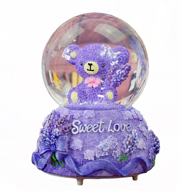 Creative violet ours boule de cristal flocon de neige boîte à musique ornements Water Polo boule de verre boîte à musique cristal artisanat cadeaux de noël