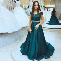 С плеча платья выпускного вечера онлайн Лодка шеи зеленый лес выпускного платья с короткими рукавами развертки поезд алмазы пояса платья д