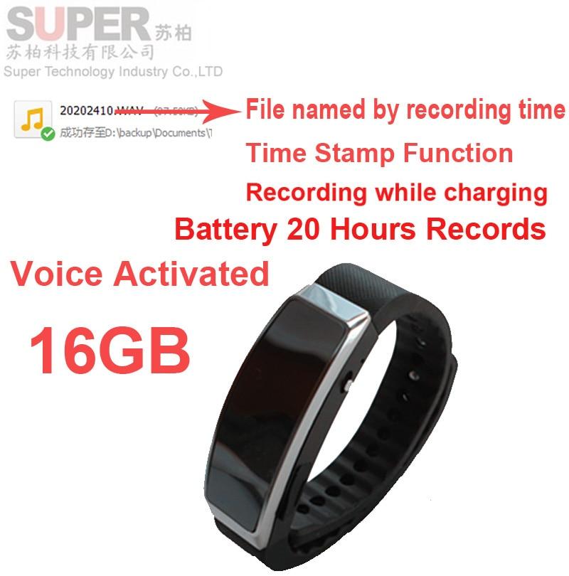 16G font b smart b font bracelet music player audio recorder MP3 player w voice recorder