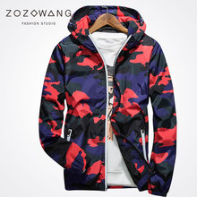 Zozowang 2017 new plus size  hooded casual sunscreen coat jacket men camouflage print zipper fashion reflective