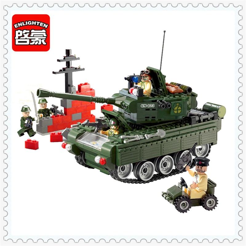 ENLIGHTEN 823 Combat Zone Military Tank Model Building Block Compatible Legoe 466Pcs DIY Educational Toys For Children цена