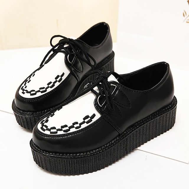 На резиновой подошве женская обувь, большие размеры 35–41 Для женщин, большие размеры, женские туфли обувь на платформе 2019 Женские туфли-лодочки женская обувь со шнуровкой