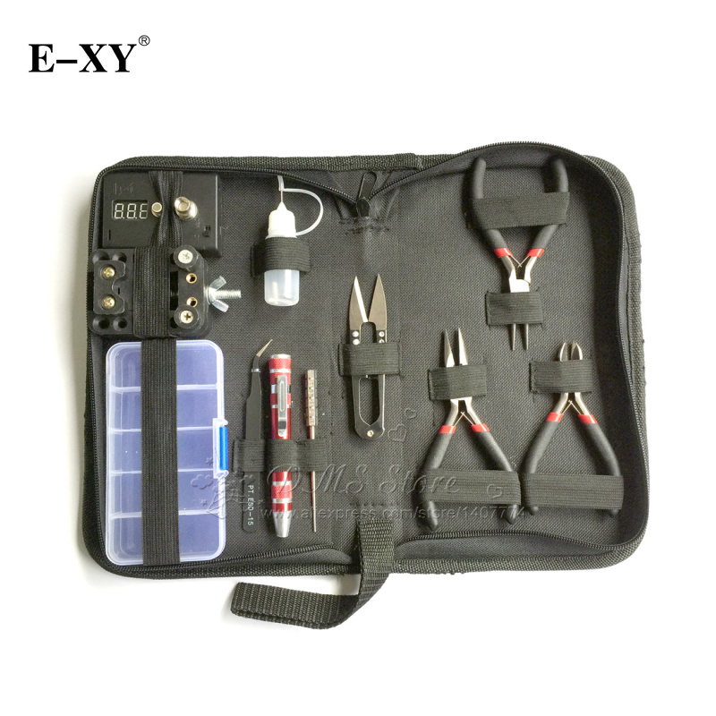 E-XY DIY coils tool 11 IN 1 Complete kit diy tooling coil winder ceramic tweezer coil jig accessories kit For RDA RBA atomizer