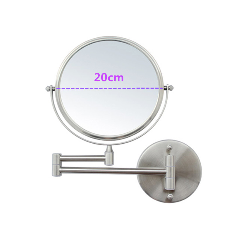 SpringQuan 8 inch high grade 304 stainless steel wire drawing Bathroom mirror Dual Arm Extend wall mirrors 3X zoom Makeup mirro
