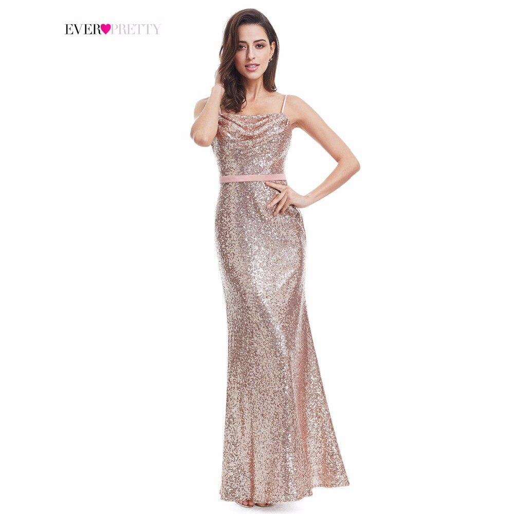 Vestidos de baile 2018 Sempre Bonita Sexy Ouro Rosa Sereia Backless Faísca Lantejoulas Sexy Vestidos de Festa Longo Vestido De Festa Longo