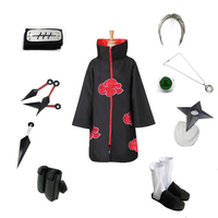 Brdwn NARUTO Hidan Akatsuki NinjaCosplay Costume (Red Cloud Cloak+Headband+Shoes+Ring+Kunai+bag+shuriken+necklace)