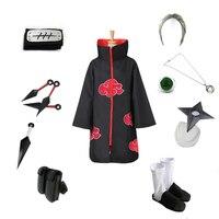 Brdwn NARUTO Hidan Akatsuki NinjaCosplay Costume (Red Cloud Cloak+Headband+Shoes+Ring+Kunai+bag+shuriken+necklace)