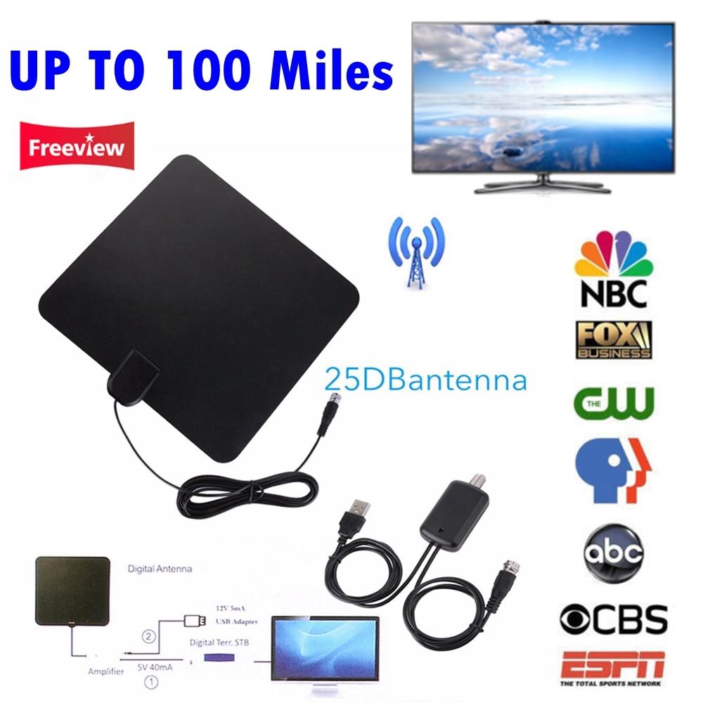 NEUE Bis 100 Miles Digitale HDTV Innen Tv-antenne mit Signalverstärker Booster TV Fox Surf Dvb-t DVB-T2/DVB-T/ATSC TV Stick