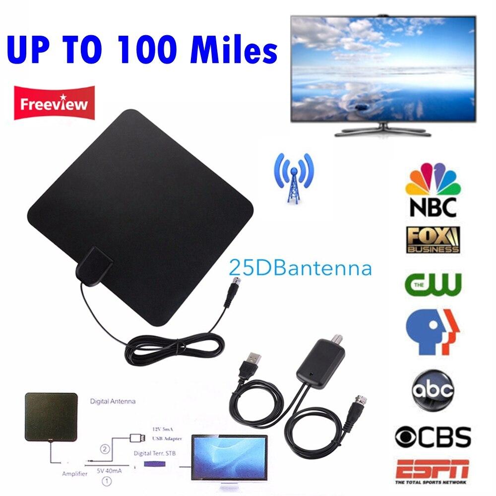 NOUVEAU Jusqu'à 100 Miles Numérique HDTV Antenne TV Intérieure avec Amplificateur de Signal Booster TV Renard Surf Tnt DVB-T2/DVB-T/ATSC TV bâton