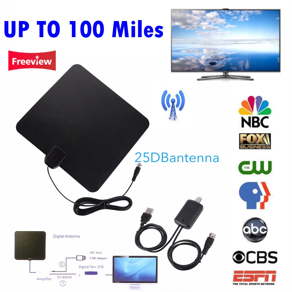 NUOVO FINO A 100 Miglia Digitale HDTV TV Antenna Interna con Amplificatore di Segnale Ripetitore TV Volpe Surf Freeview DVB-T2/DVB-T/ATSC TV bastone