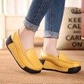 Женская Подлинная leathe rshoes Желтый Черный Красный платформы клинья пожимая увеличение обувь высокий каблук повседневная мода женская ЖЕЛТЫЙ