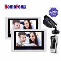 HomefongVideo porte téléphone sonnette maison IntercomKit 10 TFT LCD moniteur HD 1200TVL sonnette CCTV caméra double interphone étanche