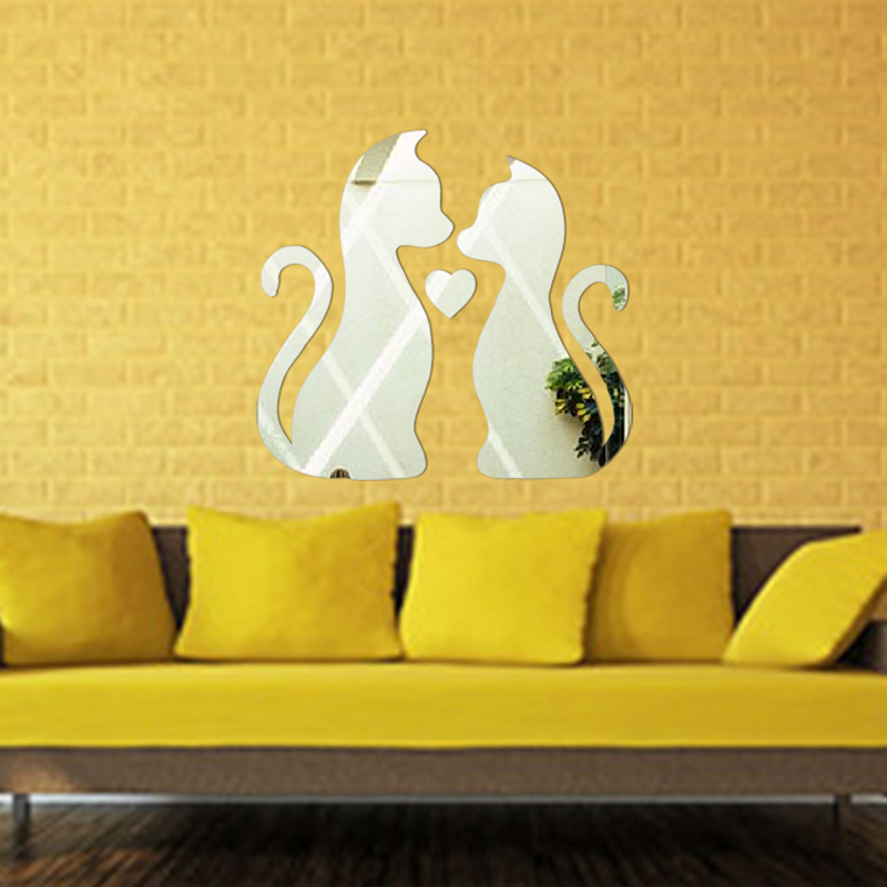 Wall Sticker Home Decoration Cute Cartoon Cats Heart Shape Wall Stickers DIY Stickers 3 Colors Acrylic For Bed Room VBH66 P29